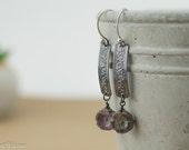 Copper and bead floral earrings, lavender dangles, patterned copper earrings, patina jewellery, handmade rustic earrings, nickel free