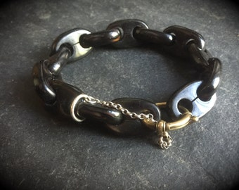 Antique Victorian Mourning Bracelet - Pressed Horn - Faux Whitby Jet - Gothic