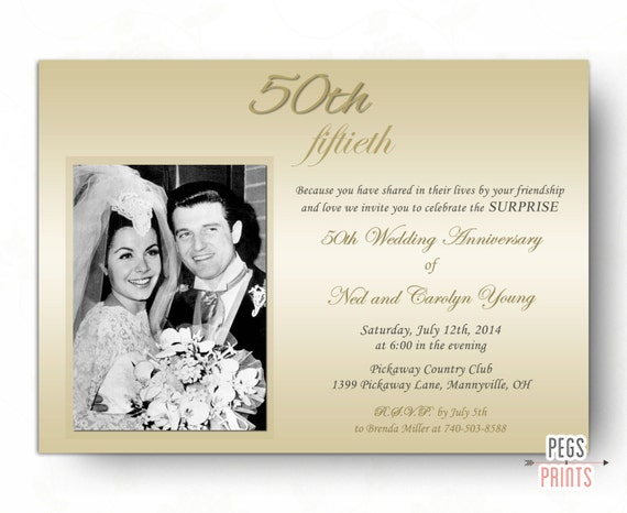 Surprise wedding anniversary invitation surprise 50th - Wedding anniversary invitations ...
