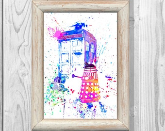 Tardis Poster  Doctor Who Poster Dalek  Watercolor illustrations  Art Print Giclee Wall Decor Art  Home Decor  Instant Digital Download