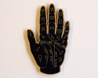 Palm Reader Brooch. Fortune Teller. Palmistry Brooch. Hand. Occult. Witchcraft. Laser Cut Plastic Brooch. Esoteric.