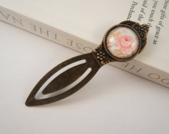 Antiqued Brass Setting Glass Dome Bookmark