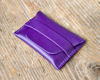Leather personalized minimal wallet, cash card holder, coins purse, hand stitched, for men and women