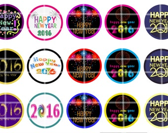 "2016 Happy New Years BCI 1"" Bottle cap images Digital download"