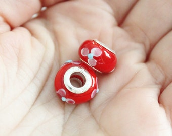 Red Flower Large Hole Pandora Style European Lampwork Glass Bead Charms Set of 2