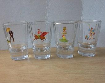 set of four shot glasses South American design