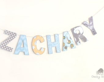 Gray and blue fabric name banner, personalized name banner, name wall hanging, name garland, name bunting, fabric letters on Baker's Twine