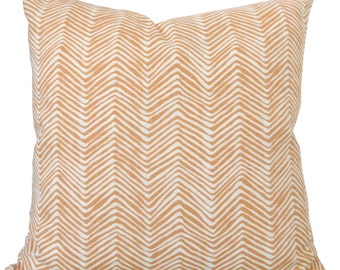 Quadrille-Designer Decorative Pillow Cover-Alan Campbell-Yellow Gold On Tint Petite Zigzag-Accent Pillow -Sofa Pillow-Single Sided