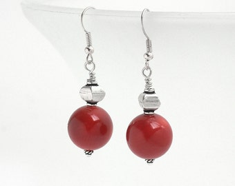 Coral Earrings, Coral Dangle Earrings, Coral Bead Earrings, Natural Coral Earrings, Red Coral Earrings, Round Bead Coral Drop Earrings