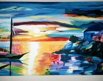 Sunset and Sailing//Acrylic