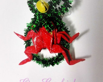 Christmas Brooch Red Frog Origami