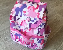Custom personalised name Pink & Purple Girls Unicorn Princess Backpack / Kids Rucksack School Nursery Bag