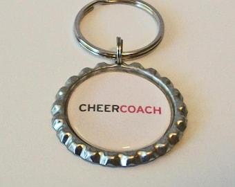 Unique Cheer Coach Metal Flattened Bottlecap Keychain Great Gift