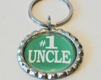 Bright Green #1 Uncle Metal Flattened Bottlecap Keychain Great Gift
