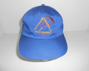 Vintage 80s Bermuda Triangle Skydiving Club Snapback Cap Hat