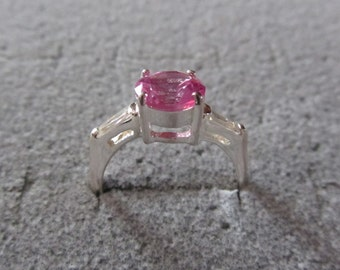 Sterling Silver Ring Pink Sapphire