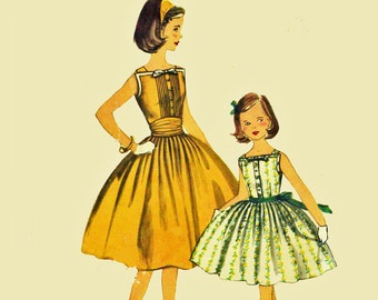 1950s Dress Patterns for Girls Simplicity 2056 Size 7 Girls Dress Pattern Sleeveless Full Skirt Dress Vintage Sewing Patterns for Children
