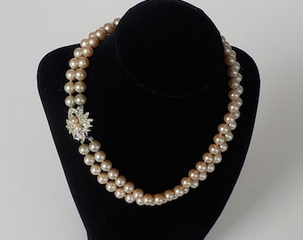 Simulated Pearl Necklace - Two Strand Pearls - Rhinestone Clasp - Vintage Choker Necklace