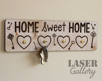 HOME Laser Cut Engraved Key Holder for Wall - Wooden Key Rack for Wall - Home Sweet Home Key Holder With Four Hooks - Wooden Key Hook Holder