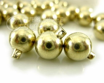 15 Raw Brass Ball Charms, 10mm Solid Brass Ball Bead Charms, Spacer Beads, Raw Brass Findings