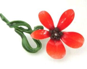 Orange Enamel Brooch, Vintage Flower Brooch, Hippie Pin, MOD Pin, Retro Brooch
