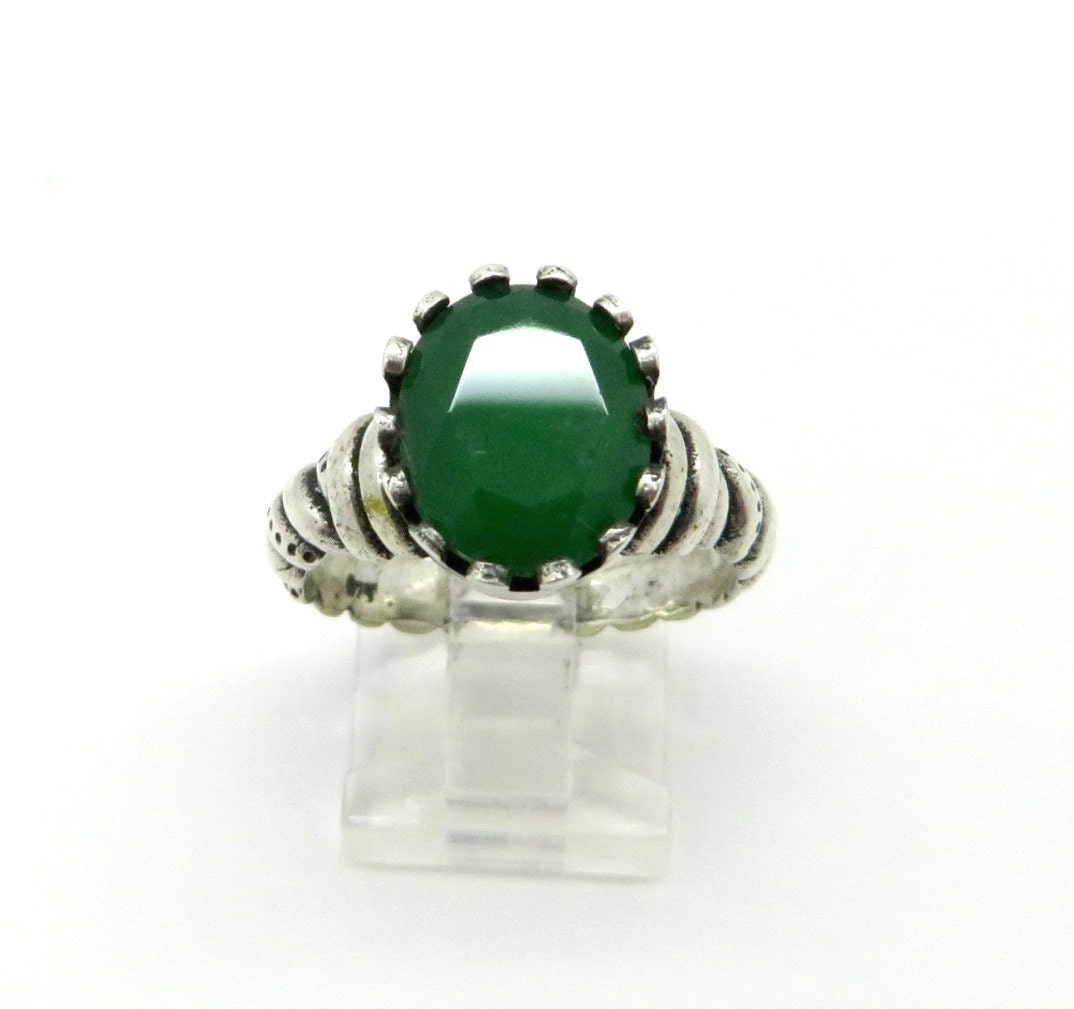 vintage genuine emerald ring sterling silver by
