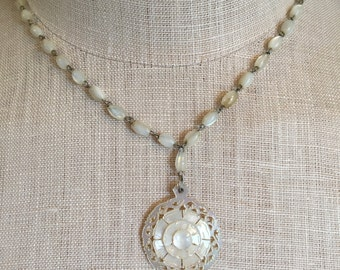 Vintage Mother of Pearl Carved Necklace