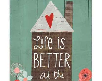 "Life is Better at the Cottage or Cabin 8x5"" tag"