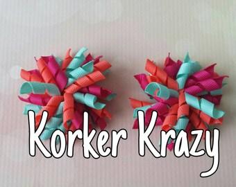 Coral, Fuschia and Aqua Mini Korker Bows