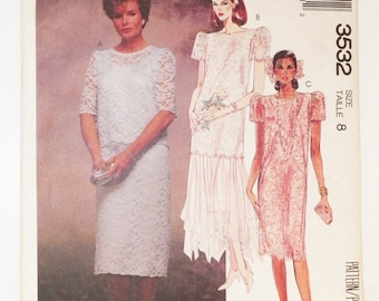 1980'S Misses Sewing Pattern Formal Evening Mother Of The Bride Brides Maid Dress McCall's 3532 Uncut Size 8 Misses Vintage Pattern