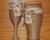 Woodland Wedding Champagne Flute and Beer Glass / Mason Jar Wedding / Rustic Wedding Toasting Glasses / Country Wedding Glasses / Engagement