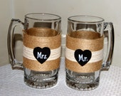 Personalized Wedding Glasses / Couple Mugs / Rustic Wedding Toasting Glasses / Mr And Mrs Beer Mugs / Country Wedding Glasses / Engagement