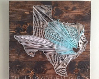 Heartstrings 2 State String Art Wall Hangings - Pallet Style, Double State String Art, Two State String Art, Wedding String Art, Destination