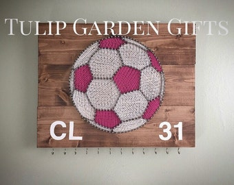 Soccer String Art Ribbon Display, Medal Hanger, Medal Display, Soccer String Art, Sports Award Display, Jewelry Display, Ribbon Hanger