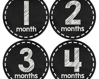 Monthly Baby Stickers, Neutral Monthly Bodysuit Stickers, Monthly Stickers, Baby Month Stickers, Baby Monthly Stickers, Chalkboard  433