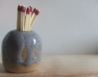 Handmade ceramic match striker - blue gray with brown - match holder with strike plate