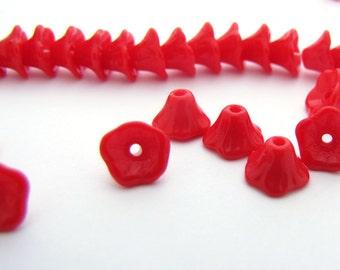 Opaque Red Mini Bell Flower 5x7mm Czech Glass  Beads 25pc #2046