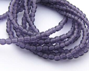 NEW Tanzanite Purple 2mm Smooth Round Czech Glass  Beads 100pc #3085