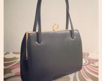 Vintage Black Leather Middx. Kelly Bag - 1960's