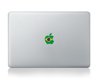 "Flag of Brazil  with apple logo Macbook Air/Pro 13"" Removable Sticker"