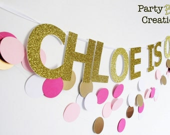 Glitter fun bright Birthday party decor garland banner bunting
