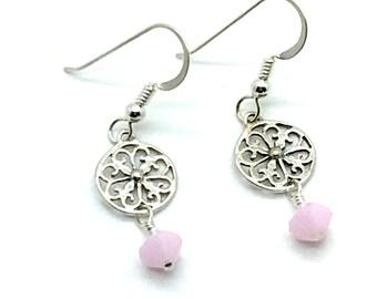 Pink Sweetness, Drop Earrings, Pink Earrings, Sterling Earrings, Silver Earrings, Crystal Earrings, Filagree Earrings, Gift for Her, Gift