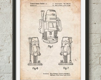 Plunge Router Patent Poster, Tool Art, Woodworking Tools, Unique Gifts for Dad, Garage Art, Man Cave, PP0991