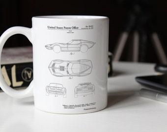 Corvette 1966 Mako Shark II Patent Mug, Corvette Mug, Classic Car Decor, Corvette Mug, PP0021