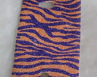 Nokia Lumia 625 cover phone case / zebra animalier orange purple glitter effect