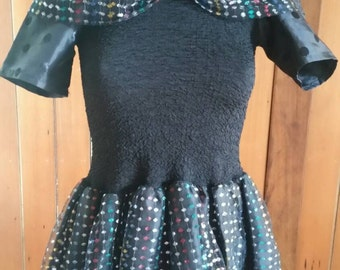 Black and metallic tulle stretch handmade eighties mini dress size 8