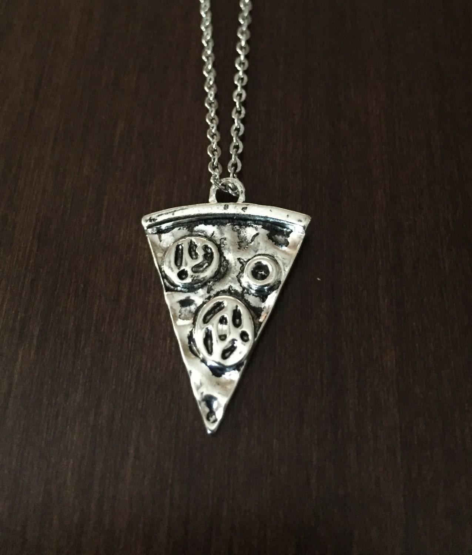 silver pizza necklace pizza necklace pizza pizza slice