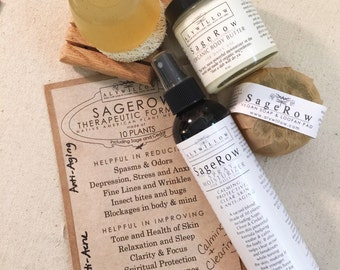 SAGEROW Therapeutic Plant Formula with 10 plants (Sage/Cedar) || Vegan soaps, Moisturizers & Spritzer || Clear Skin and Anti-Aging Benefits