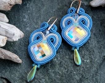 Small Blue Soutache Earrings-Blue Swarovski Crystal Earrings-Swarovski Jewelry-Swarovski Crystal AB-Blue Small Earrings-Shabby Chic Earring