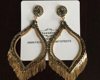 Geometric Fringe Crystal Earrings